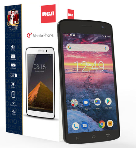 "RCA Q2 Android 9.0 Pie, 5.0"" HD, 4G LTE, 16GB, 8MP+5MP Dual Camera, Dual Sim, Unlocked Smartphone (Black)"