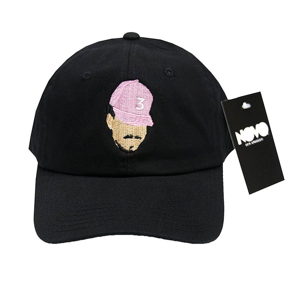 Chance The Rapper Dad Hat - Black with Salmon Hat In Twilled Cotton dc40ec42bcfe