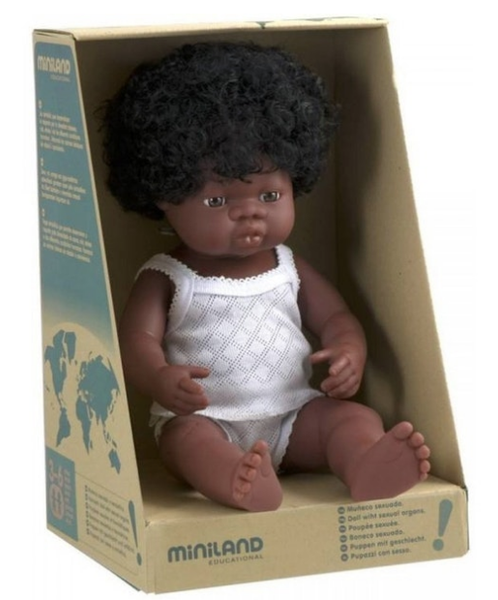 MINILAND Anatomically Correct Baby Girl African 38cm