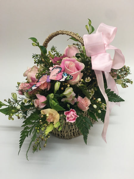 New baby Girl & Boy basket of flowers