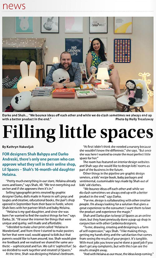 Lil Spaces' 'Filling little spaces' feature in the City News magazine.