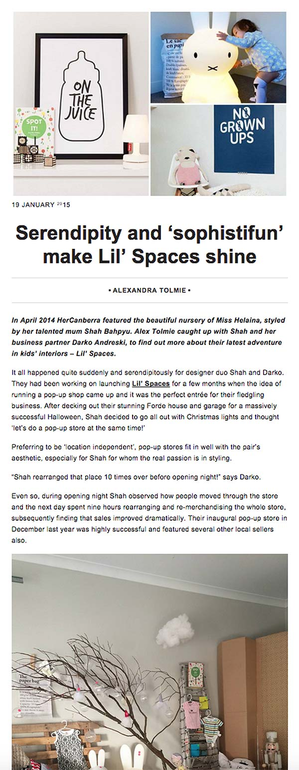 Lil Spaces story feature 'Serendipity and 'sophistifun' make Lil Spaces shine on Her Canberra blog.
