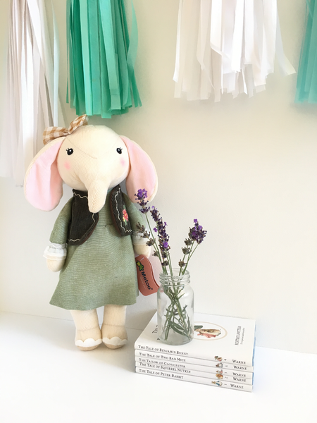 MeToo elephant girl doll with green dress from lilspaces.com