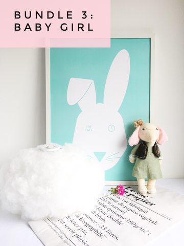 kids decor package bundle with cloud light, large art print, elephant doll, Le sac enpaier from lilspaces.com