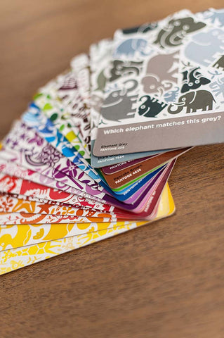 Kids Pantone colour cards animals