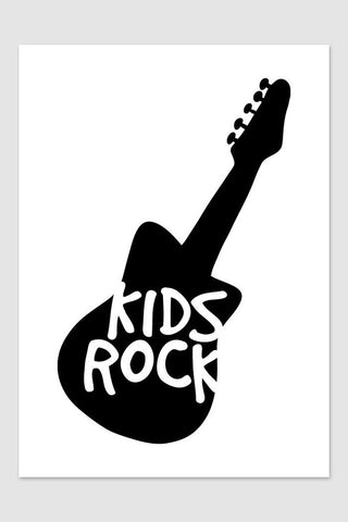 Kids poster kids rock poster black and white guitar poster