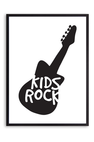 Kids poster, kids rock poster, black and white guitar poster,