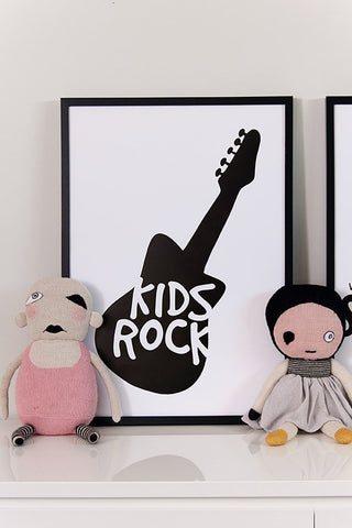 Kids poster, kids rock poster, black and white guitar poster, lucky boy sunday dolls,