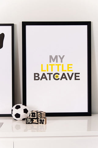 Batcave poster, batman print, super hero themed poster, kids room poster,
