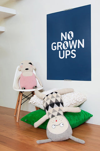 kids poster, no grown ups poster, navy and white poster, playroom art, luckyboy sunday