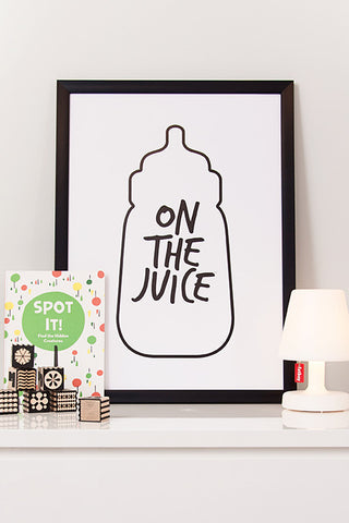 Nursery art, kids poster, on the juice poster, black and white print,