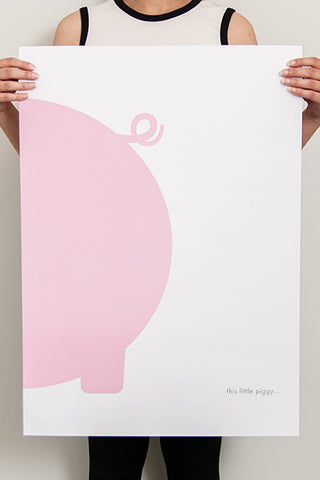 Nursery art, piggy poster, girl room, pink and white kids poster,