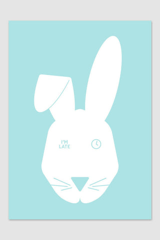 Nursery art, rabbit poster, modern kids poster, white aqua art print