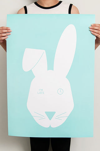 Alice in Wonderland inspired white rabbit art print from lilspaces.com