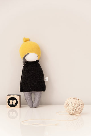 plush toy handmade, stylish fabric doll, cute girl doll yellow and grey,