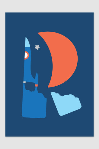 Rocket poster, nursery art, blue red poster, boys room art,