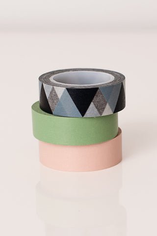 Washi tape green pink grey, colorful masking tape