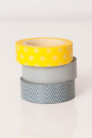 Washi tape grey yellow, zig zag washi tape, chevron washi tape, colorful masking tape