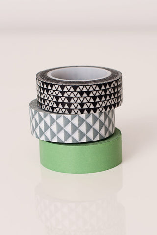 Washi tape green grey black triangles, colorful masking tape