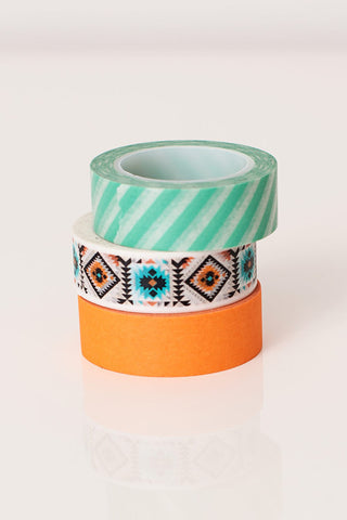 Washi tape orange aqua, colorful masking tape