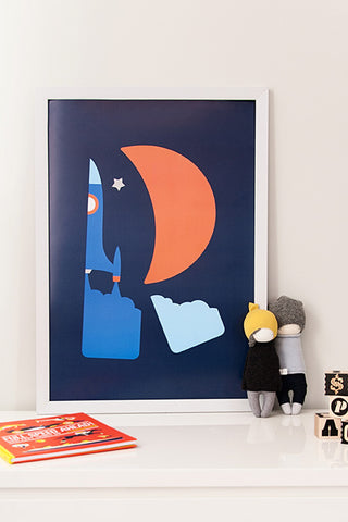 Rocket poster, nursery art, blue red poster, boys room,