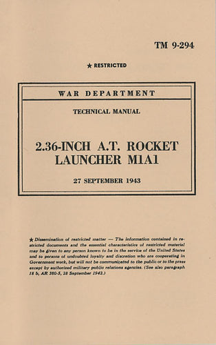 TM 9-294 - 2.36-inch A. T. Rocket Launcher, M1A1