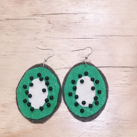 Kiwi Fruit Felt Earrings