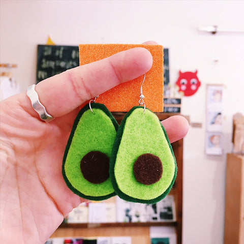 Avocado Felt Earrings