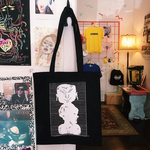 Black Screen Printed Tote by Angelica Roache Wilson