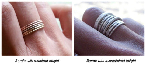 Stacking rings sets height comparison
