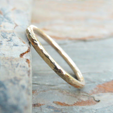 Hammered 14k Gold Wedding Band in Matte or Polished Finish