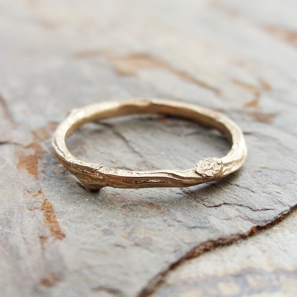 Solid 14k Yellow Gold Twig Wedding Band brightsmith