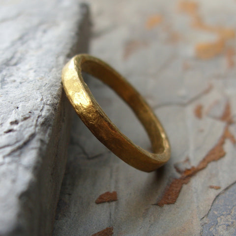 Pure Gold - Primitive 24k Wedding Ring - Artisan Hammered Flat Solid Gold Band