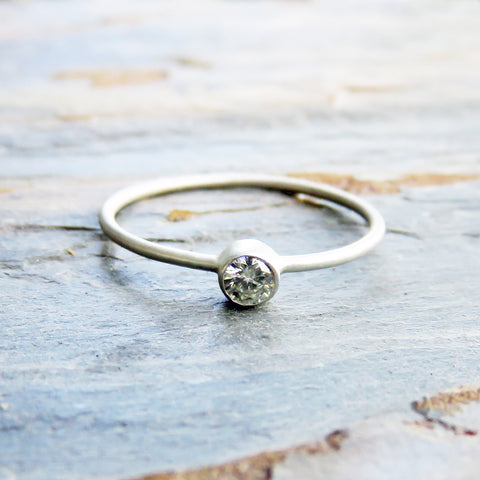Tiny Moissanite Solitaire Ring in Solid 14k Gold: Ethical Diamond Alternative