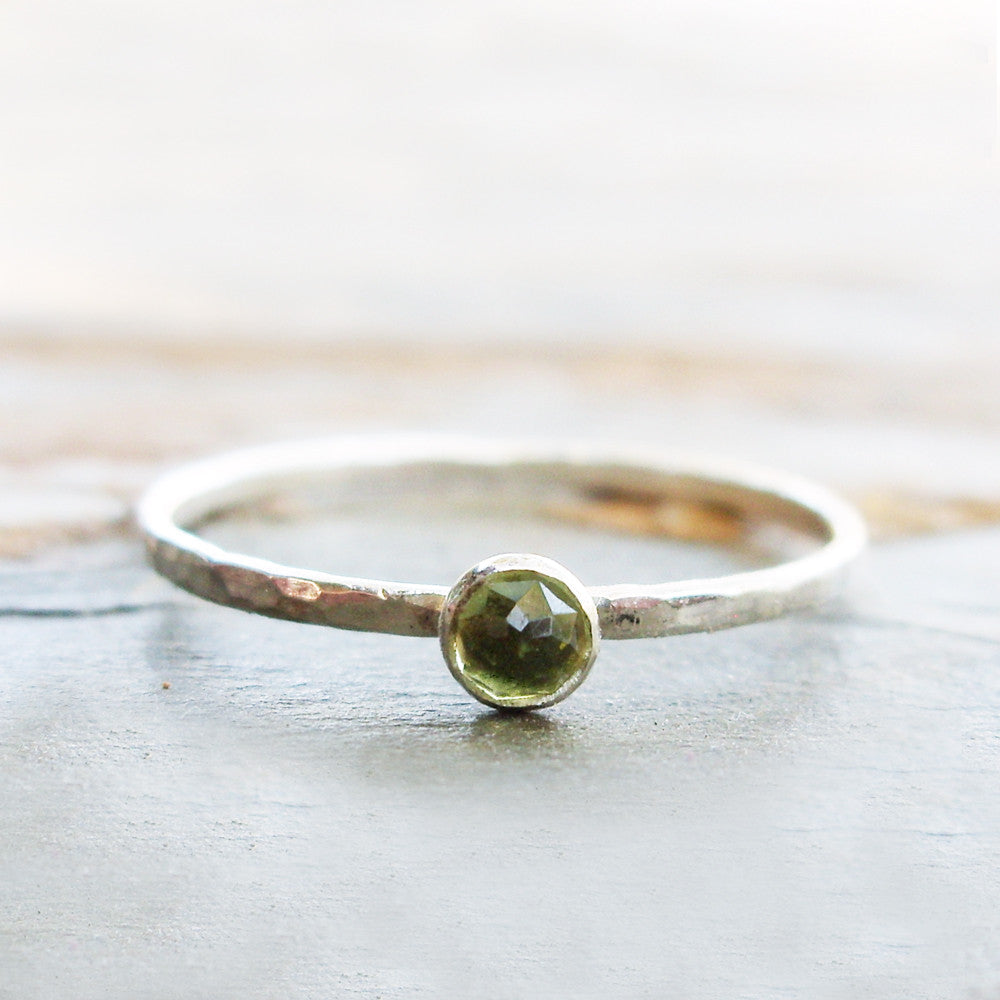 Tiny Rose Cut Peridot Stacking Ring in Sterling Silver