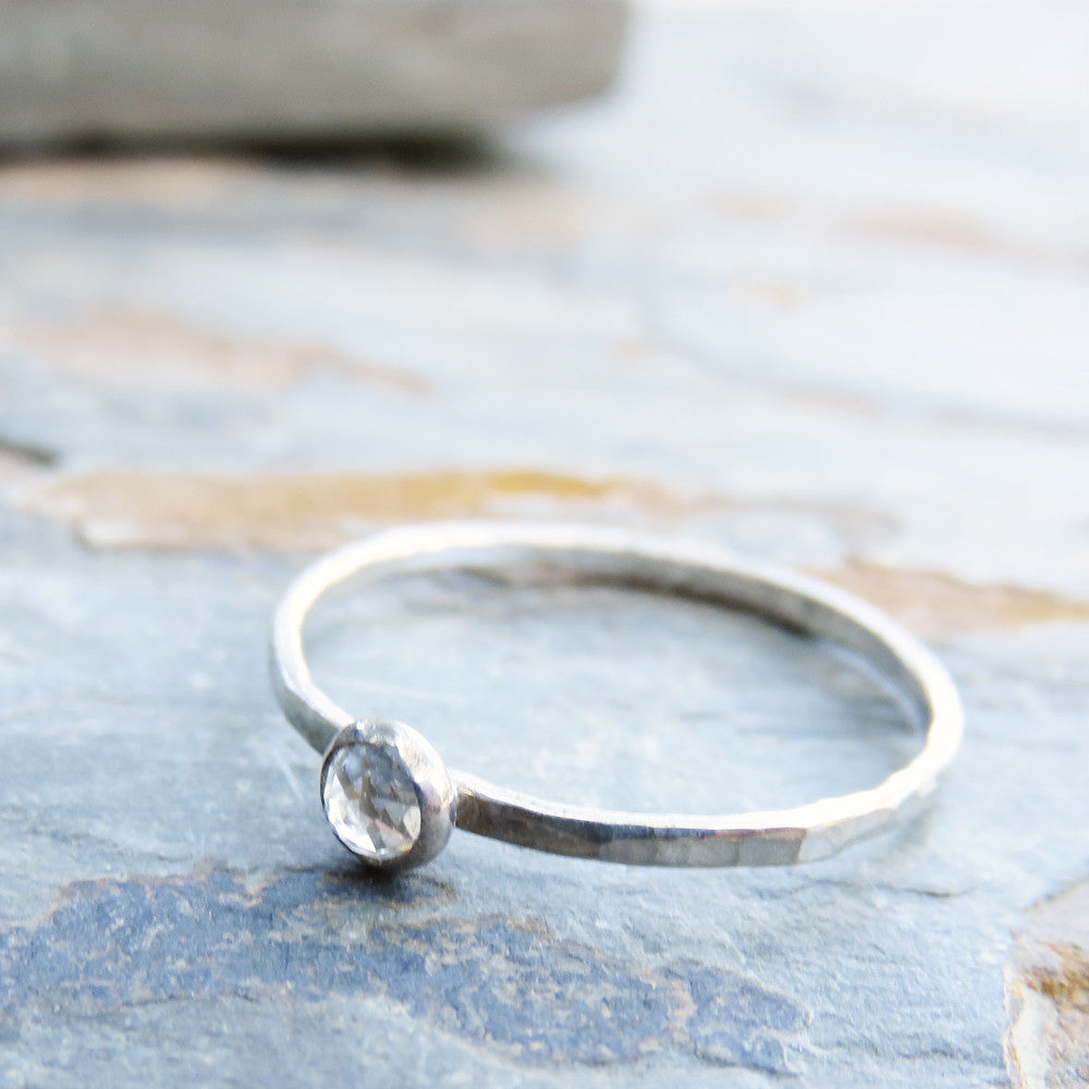 Tiny Rose Cut White Topaz Stacking Ring in Sterling Silver