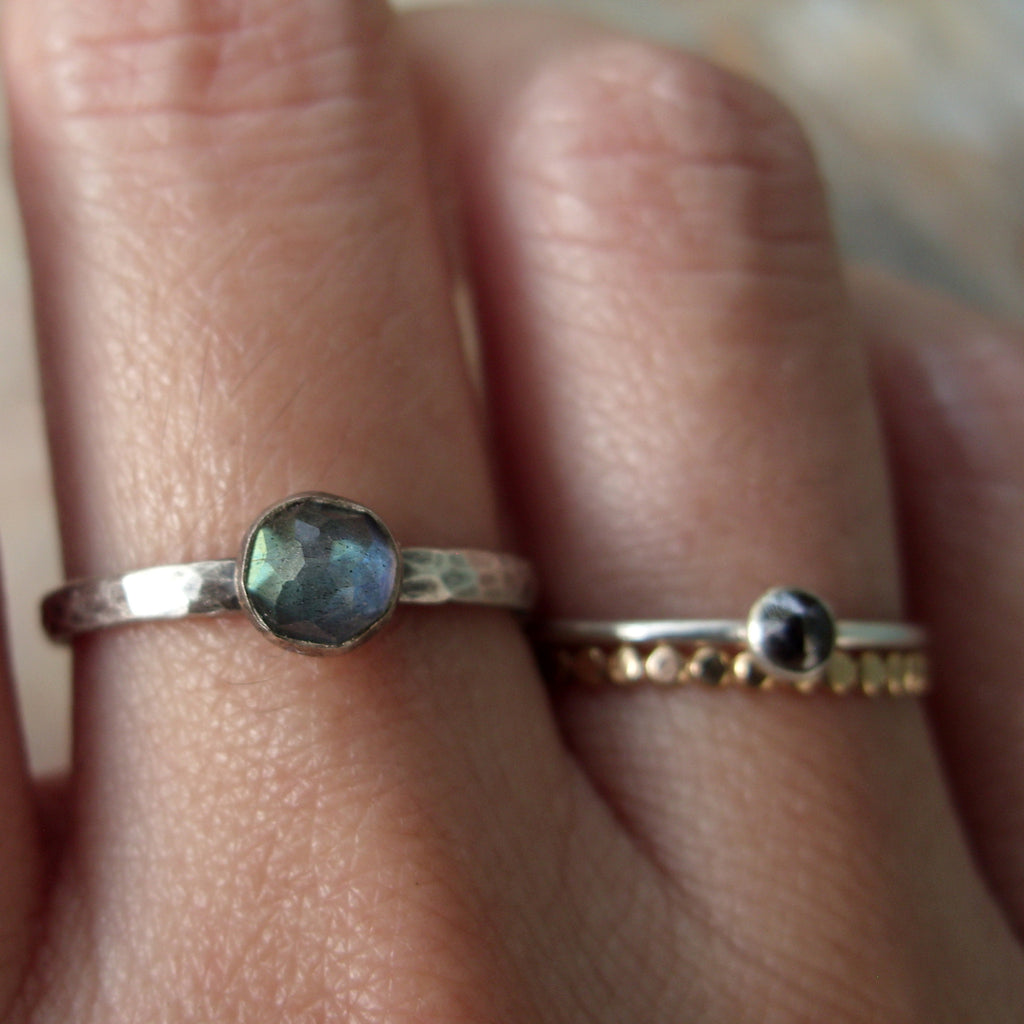 Rose Cut Labradorite Stacking Ring in Antiqued Hammered Sterling Silver