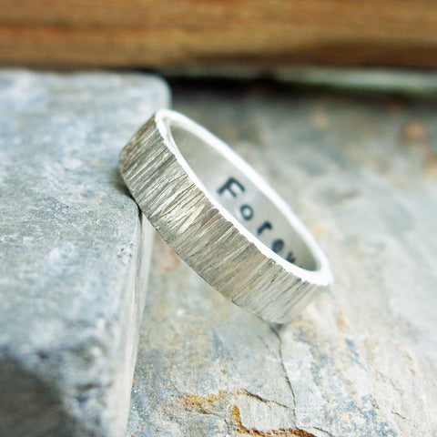 Tree Bark Wedding Band in Bright Silver Wood Grain