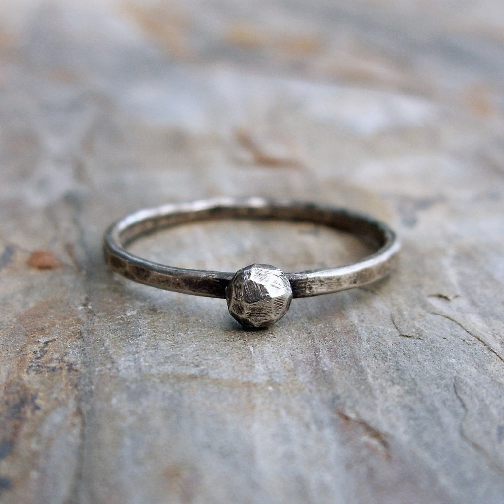 Hand Carved Faceted Rock Solitaire in Sterling Silver