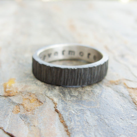 Rugged Blackened Tree Bark Wedding Band in Sterling Silver