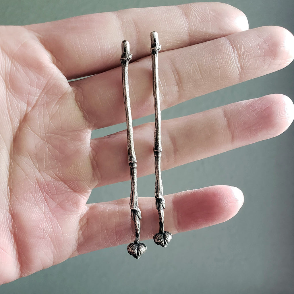 Sterling Silver Dogwood Branch Twig Earrings