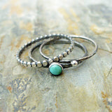 Green Kingman Turquoise Stacking Rings Set