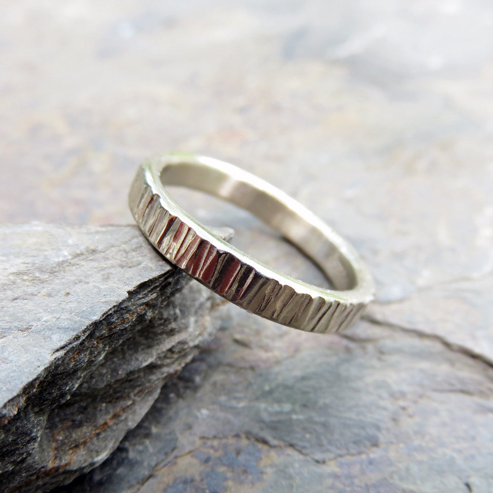 14k White Gold Wood Grain Wedding Band: 3mm Tree Bark Ring