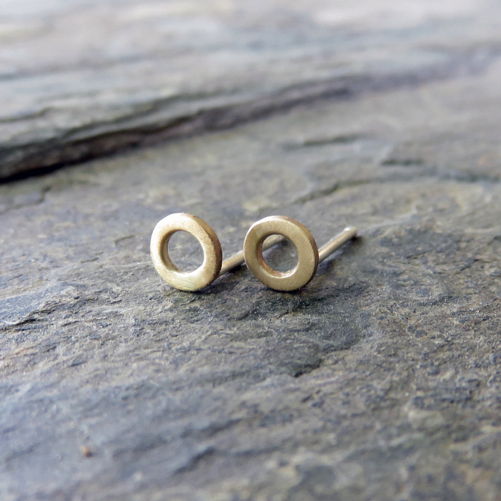 of post matte earrings pair silver studs open gold sterling il products solid circle yellow or stud fullxfull tiny minimalist rose