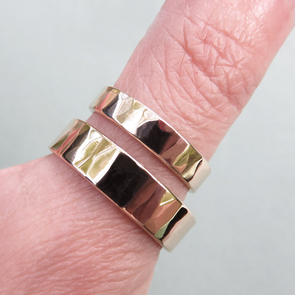 Hammered Gold Wedding Band Set in Yellow or Rose Gold: Matching Wide ...