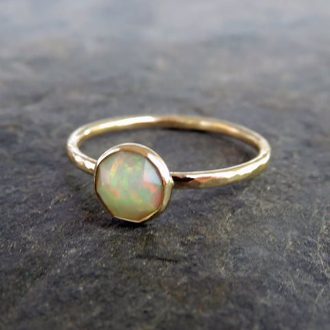 Rose Cut Opal Ring: Ethiopian Welo Opal in Hammered Solid 14k Gold