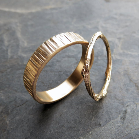 Matching Gold Tree Bark and Twig Wedding Band Set
