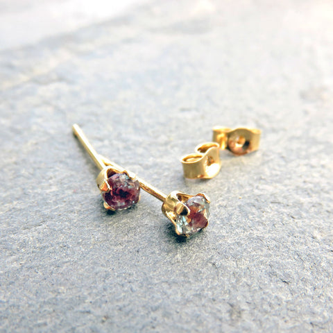 Tiny 14k Gold Alexandrite Earrings, 3mm Full Color Change Lab Grown Alexandrite Studs, Solid 14k June Birthstone Earrings, Faceted Round