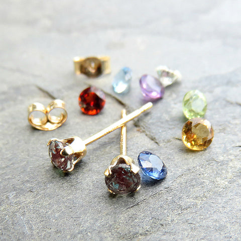 Tiny 14k Gold Birthstone Earrings - Choose Your Stone: Solid 14k Gold 3mm Faceted Gemstone Studs, Sapphire, Ruby, Emerald, Aquamarine, &c.