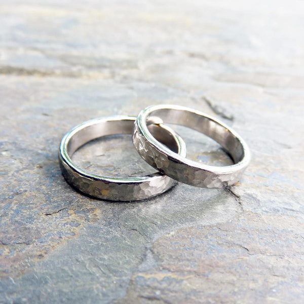 d5451f9733f4e Hammered White Gold Wedding Band: 4mm Polished or Matte Band in 14k  Palladium White Gold or 950 Palladium